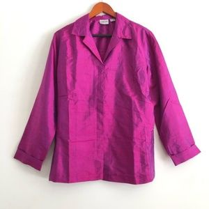 chico's Fuchsia Iridescent Button Down Silk Top